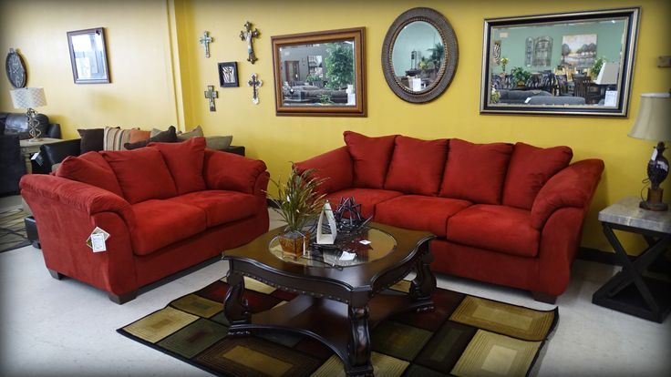 Check out the Signature Ashley pieces at Blake Furniture today! like this cozy Darcy sofa set part of the Salsa Collection. Come in today and get your credit pre-approved and bring a pop of color into your living room!