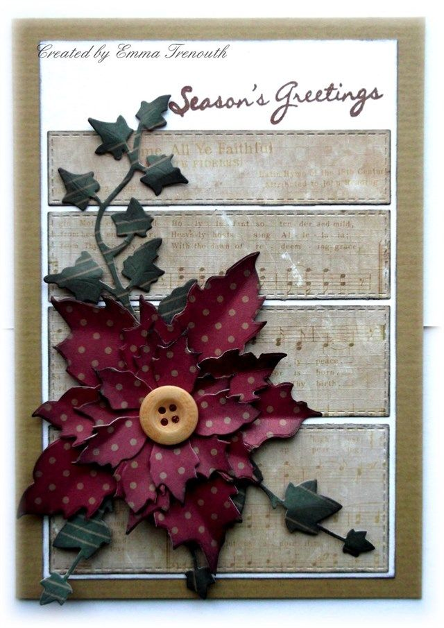 Vintage Christmas card, Tim Holtz tattered poinsettia, ivy die, LOTV sentiments