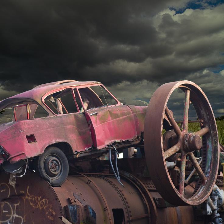Scrap car on steam engine + Nordic sky  http://www.metalrecyclers-brisbane.com.au/