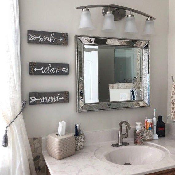 Bathroom Wall Decor Soak Relax Unwind Farmhouse Decor Restroom Decor Small Bathroom Decor Bathroom Decor