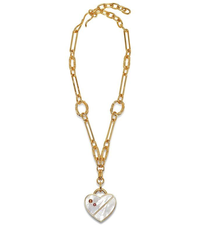 Shop For Venice Heart Necklace In Mother Of Pearl From Top Fashion Designer Lizzie Fortunato Featured In Shop In 2020 Heart Necklace Pearl Heart Pendant Boho Chic Shop