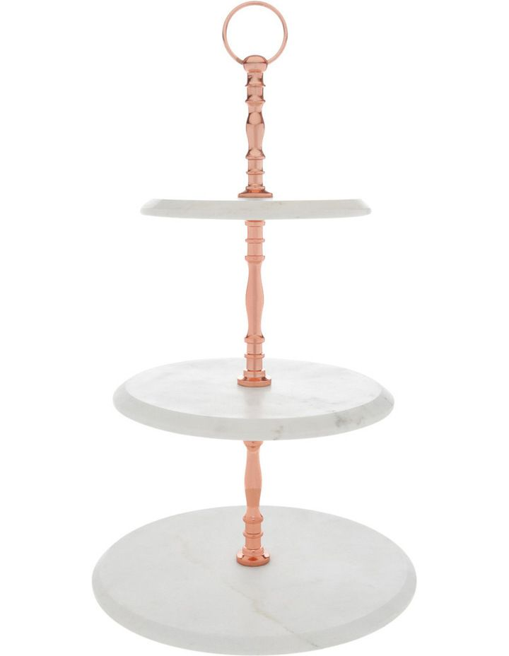 Heritage Marble 3 Tier Cake Stand With Copper Handle Myer Tiered Cake Stand 3 Tier Cake Stand Copper Cake Stands