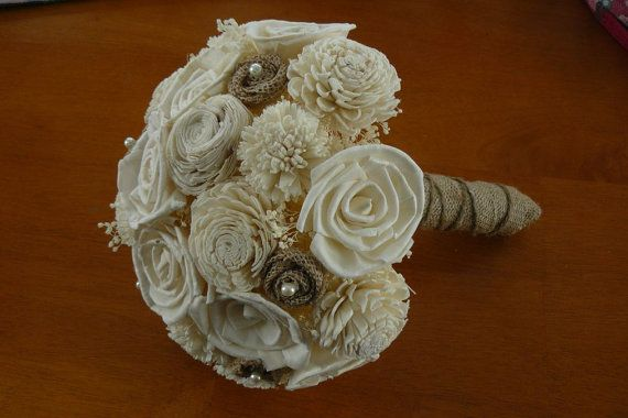 Wedding Burlap Bouquet Sola Bouquet by TheBloomingCorner on Etsy