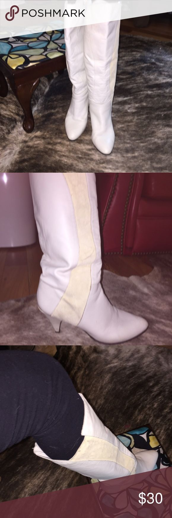 vintage white leather boots vintage white leather boots . White suede and leather. Runs small, closer to an eight/ eight and a half. Shoes Heeled Boots