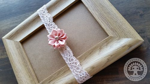Peach Ribbon Flower Elastic Headband by Corinne Jade