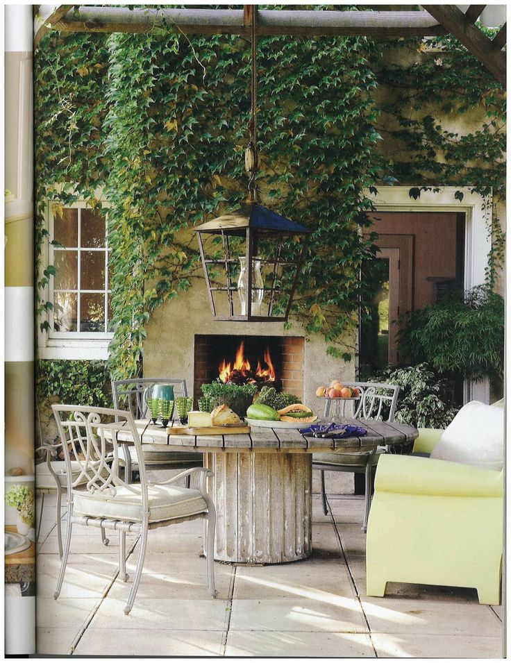 Outdoors, terrace, outdoor fireplace, eclectic
