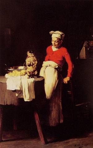 Joseph Bail The Cook and the Pug Painting Reproduction On Artclon For Sale | Buy Art Reproductions The Cook and the Pug