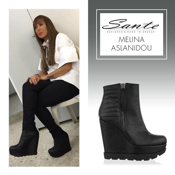 Melina Aslanidou in SANTE Wedges #BuyWearEnjoy #CelebritiesinSante Shop online: www.santeshoes.com