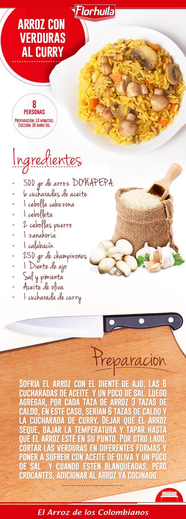 Arroz con verduras al curry, una opción deliciosa para un almuerzo diferente: http://bit.ly/1GQGSfe