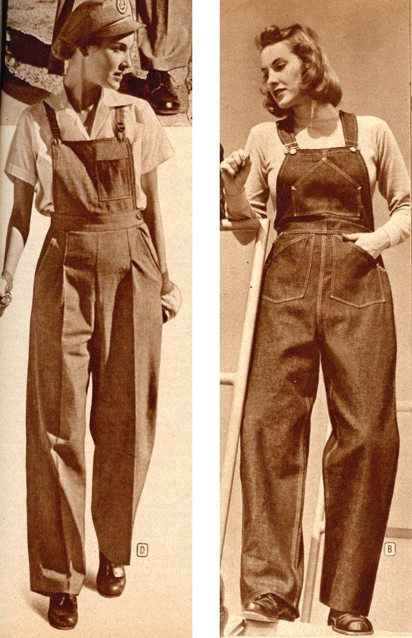 Deux femmes portant des salopettes en jean, vers 1940