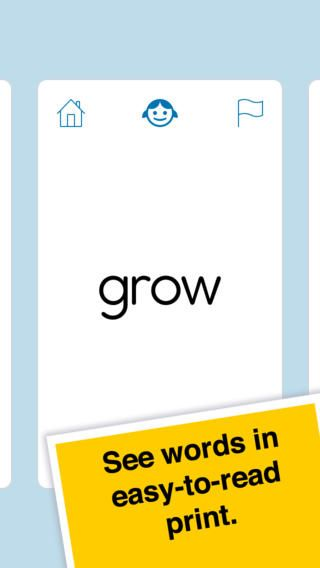 Learn Sight Words – one of my favorites. Simple interface and easy to use. Students can swipe through the cards, and can click on the words to hear them. You can also turn the sound off. There are lists for pre-k through 3rd grade, and nouns. There is a 25 word mix option, and also a category for any words you flag. (No ads)