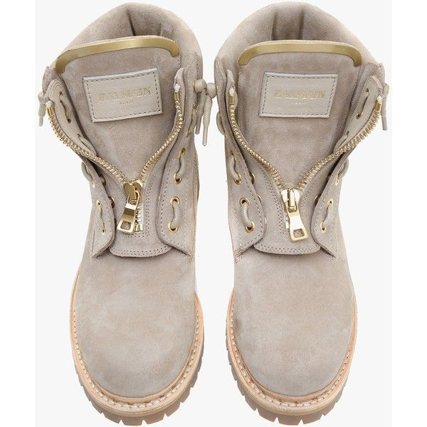 Balmain Taiga ranger suede boots ($905) ❤ liked on Polyvore featuring shoes, boots, lacing boots, low heel shoes, laced up boots, short heel boots and laced boots