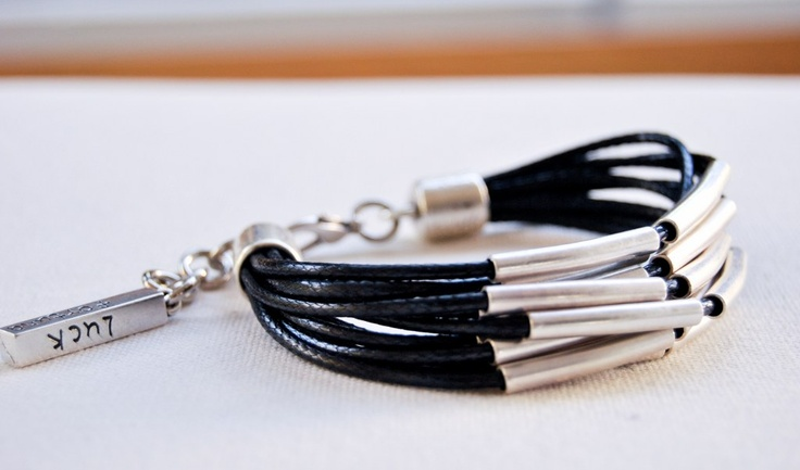 Handmade bracelet in black cord and silver tubes!!