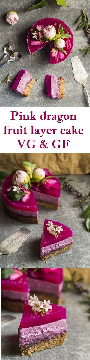Triple layered dragon fruit cake with a sponge, mousse and jelly layers. Vegan, gluten free and refined sugar free!