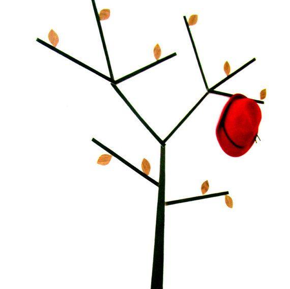 Чудо-Дерево. Вешалка наклейка на стену из шпона с 10 крючками для одежды, шляп, сумок, ключей, полотенец, украшений, фото и картин.