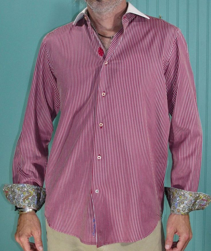 Robert Graham Sport Shirt Red Striped Paisley Cuffs #RobertGraham #ButtonFront