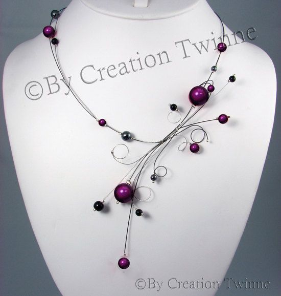 purple black necklace swirls jewelry wedding by creationtwinne