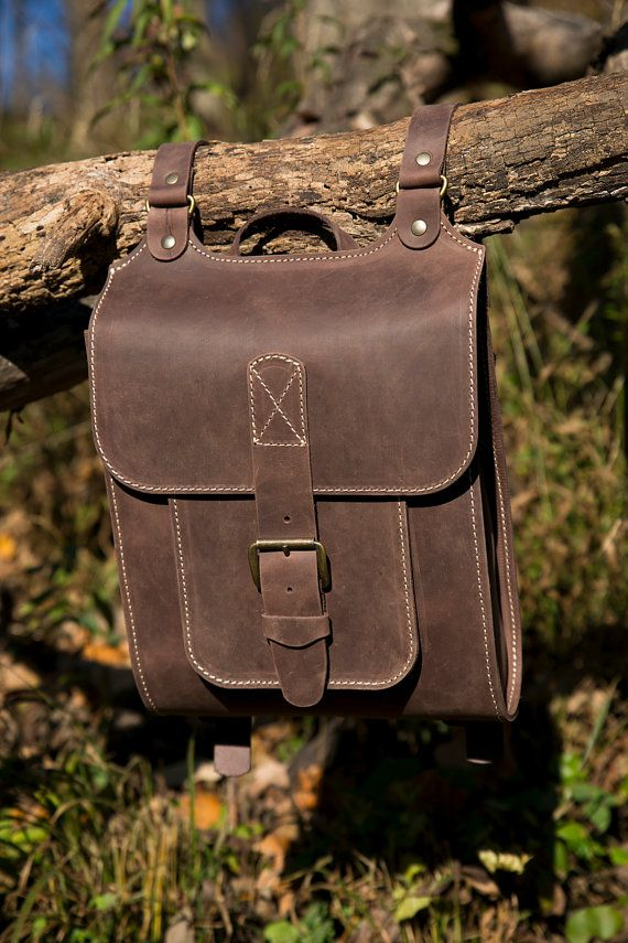 Midle Size backpack For Man, Brown Leather Backpack, Handmade Satchel Bag