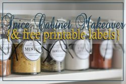 DIY:  Spice Cabinet Facelift & Free Printable Labels | Snippets of Design - cute blog with lots of great ways to help you organize!