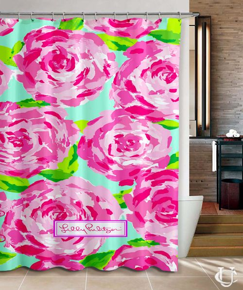 Cheap Lilly pulitzer pattern roses Shower Curtain cheap and best quality. *100% money back guarantee