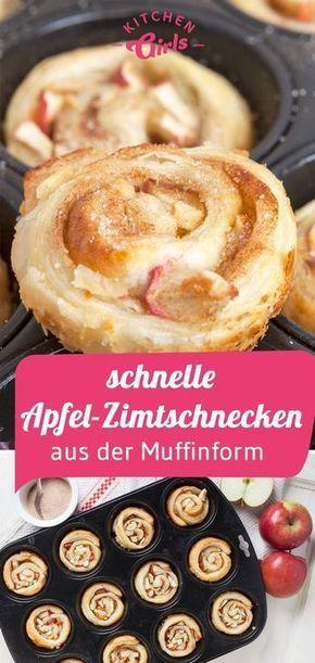 Rollos rápidos de manzana y canela de la forma de muffin   – Backen