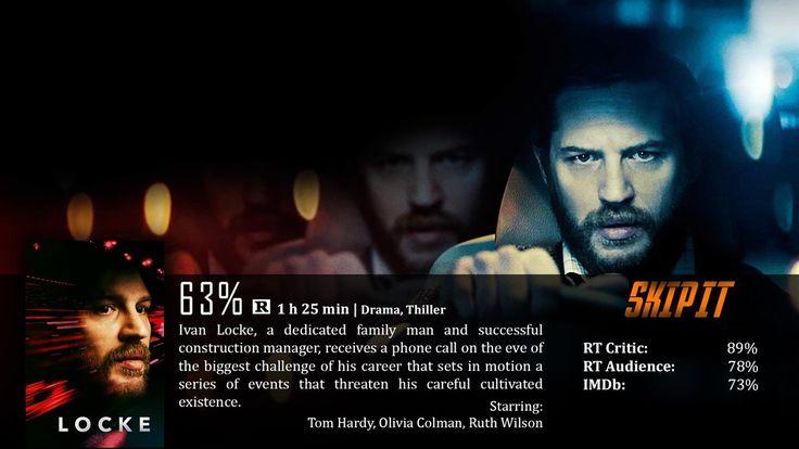 """În """"Locke"""", Hardy interpretează rolul unui bărbat a cărui viaţă începe să fie distrusă odată cu primirea unui apel. Pe parcursul celor 84 de minute ale filmului, faţa lui Ivan Locke este singură pe ecran, iar pelicula urmăreşte drumul său de la Birmingham la Londra. Deşi iniţial apelurile date fiilor săi par ciudate (îi anunţă că nu va ajunge acasă să se uite la un meci cu ei, pe măsură ce apelurile se înteţesc, conversaţiile dezvăluie ce se întâmplă cu adevărat. Locke se îndreaptă către…"""