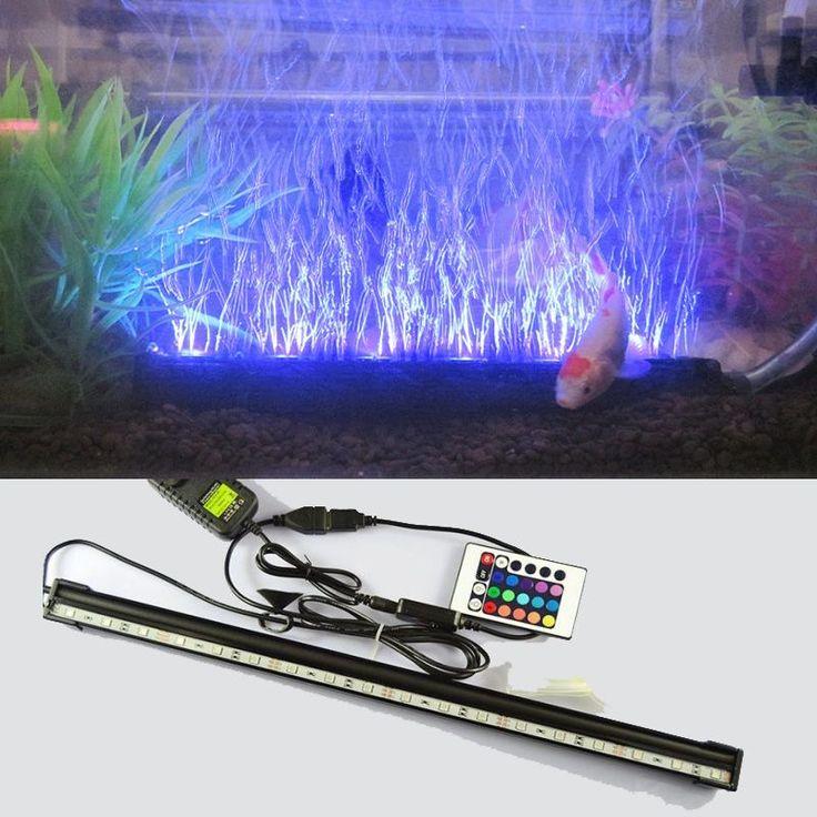 sale led remote underwater submersible aquarium led light air pump bubble light strip bar flood light #led #grow #light #AquariumLightingLEDProducts