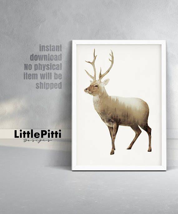Deer Print Double Exposure Print Deer Wall Art Woodland Etsy Deer Wall Art Deer Print Deer Poster