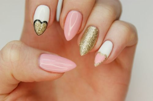 Pastel&Gold nails by Magdalena White -Semilac 001 Strong WhitePink - Semilac 047 Pink Peach MilkBlack - Semilac 031 Black DiamondGold - Semilac 037 Gold Disco
