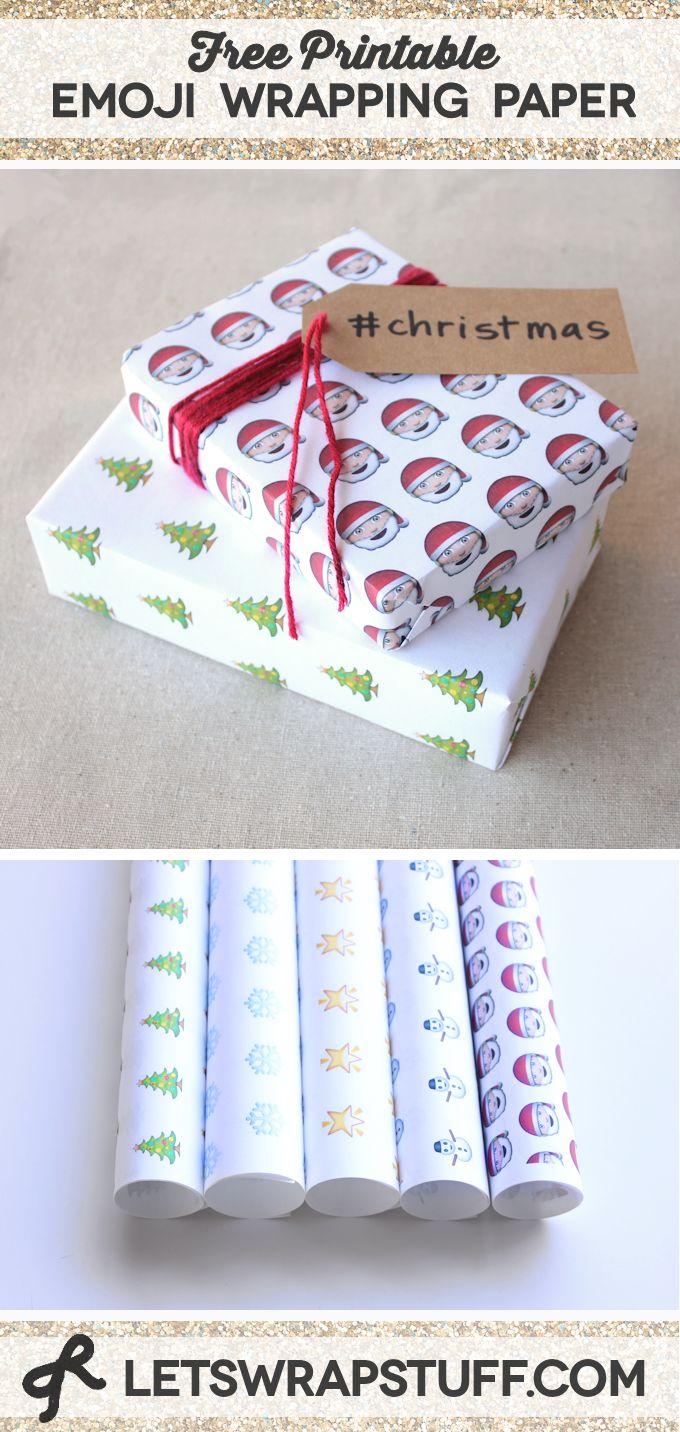 Free Printable Emoji Wrapping Paper - 5 Christmas themed emoji gift wrap. #emoji #giftwrap