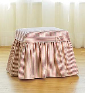 ottoman slipcover in ticking . . .This is exactly what we need!  Couldn't have been pinned at a better time!
