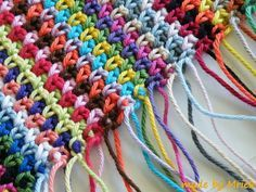 Moss stitch tutorial (sometimes called linen or woven stitch), from Made By Mriek:  Simple SC & chains, but my biggest challenge is keeping the edges perfectly straight  :-)   . . . .   ღTrish W ~ http://www.pinterest.com/trishw/  . . . .   #crochet