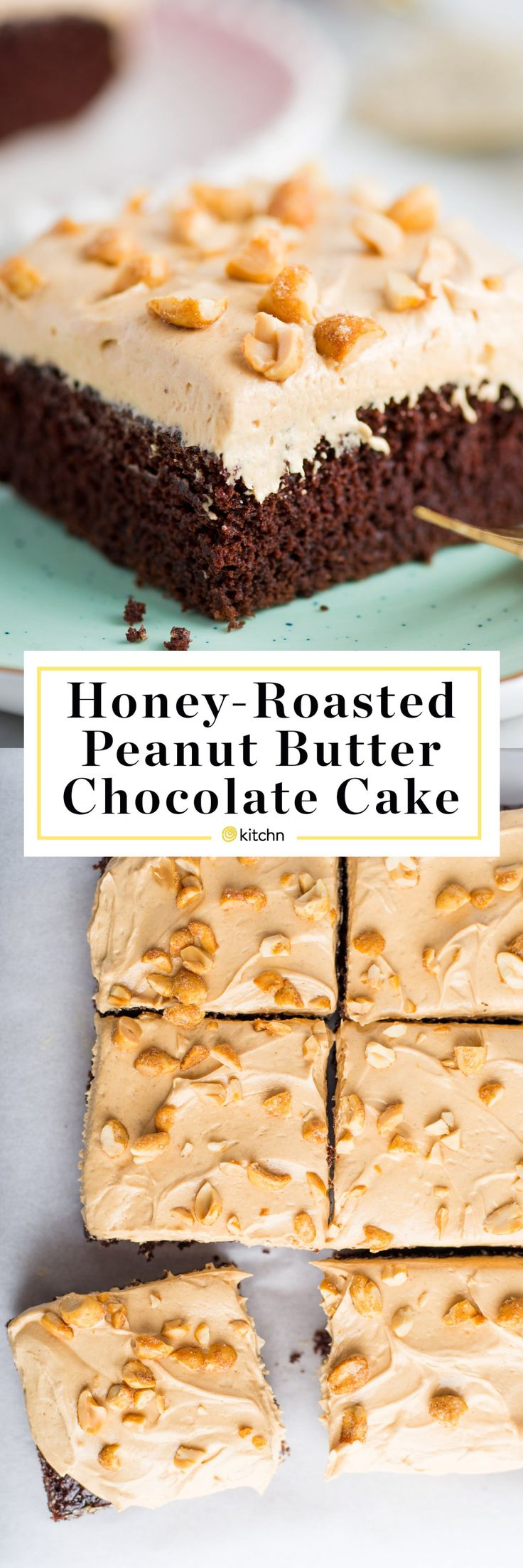 Easy Chocolate Sheet Cake with Honey-Roasted Peanut Butter Frosting - Baking Recipes from The Kitchn. This recipe has no need for complicated decoration! Desserts like this are great for a crowd or parties, and are impressive while still being simple to make. Fabulous for kids or adults!