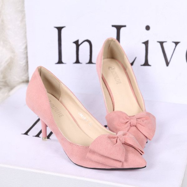 - Cute ribbon point toe kitten heels for the stylish fashionista - Edgy design offers a modern stylish look - Great for the workplace or casual outings - Made from PU - Available in 4 colors