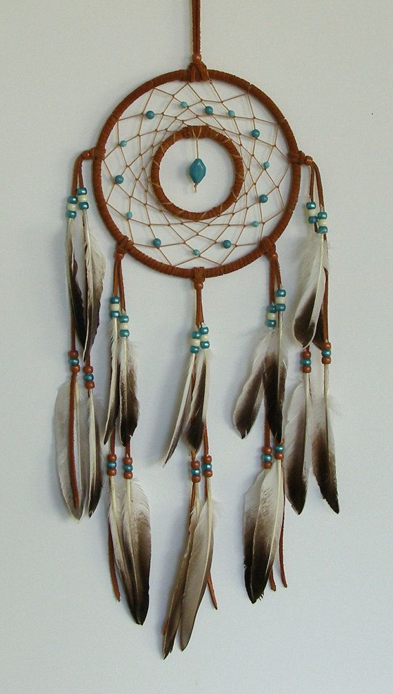 Double Ring Rust & Turquoise with Duck Feathers Dream Catcher- 7 inch
