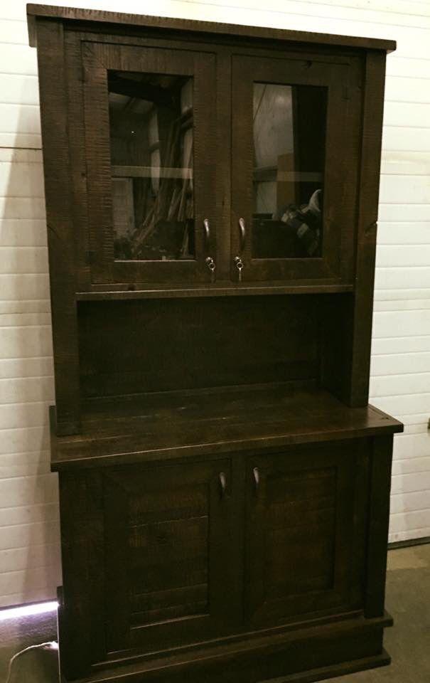 rustic alder liquor cabinet with locking doors