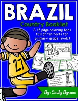 """This """"All About Brazil"""" booklet can be used for a very basic country study in lower elementary grades! Each page contains a basic fact and related illustration. All graphics are in an outline format so that it's ready to be colored like a mini-coloring book.This coloring booklet gives all the general/basic information about Brazil, including:-geography-Brazilian flag-capital city of Brasilia (Cathedral of Brasilia)-Brazilian foods-Rio de Janeiro-Carnival festival-football (most popular…"""