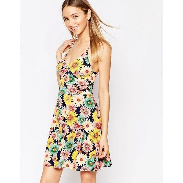 Club L Cami Skater Dress in Sunflower Print with Strap Back Detail ($25) ❤ liked on Polyvore featuring dresses, navy, white cami dress, v neck dress, jersey dress, navy skater dress and v neck skater dress