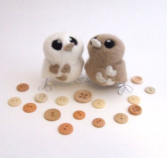 Latte Wedding Cake Topper Love Birds Wedding by feltmeupdesigns, £42.50