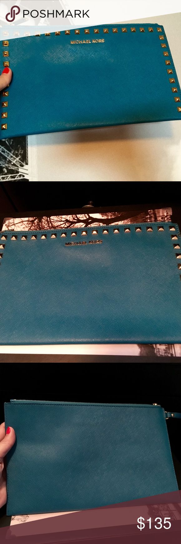 Michael Kors Large Studded Clutch in Turquoise Gorgeous turquoise saffiano leather studded clutch with wristlet strap. Gold studs, inside slip pocket, plus card slots! This was hardly used at all. Looks new. Michael Kors Bags Clutches & Wristlets