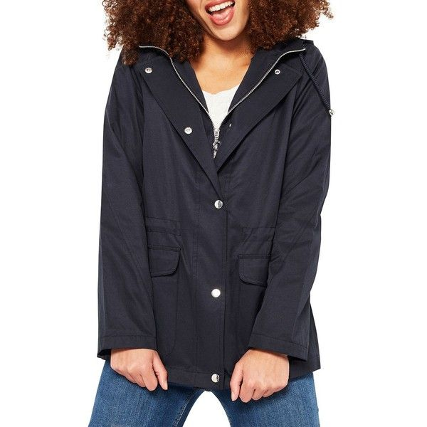 Miss Selfridge Zippered Hooded Parka Jacket ($69) ❤ liked on Polyvore featuring outerwear, jackets, navy blue, navy parka, lightweight jackets, navy blue jackets, hooded drawstring jacket and navy parka jacket