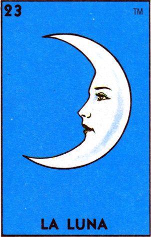 Mexican Folk Art Prints soleil lune Loteria El par illustratedink