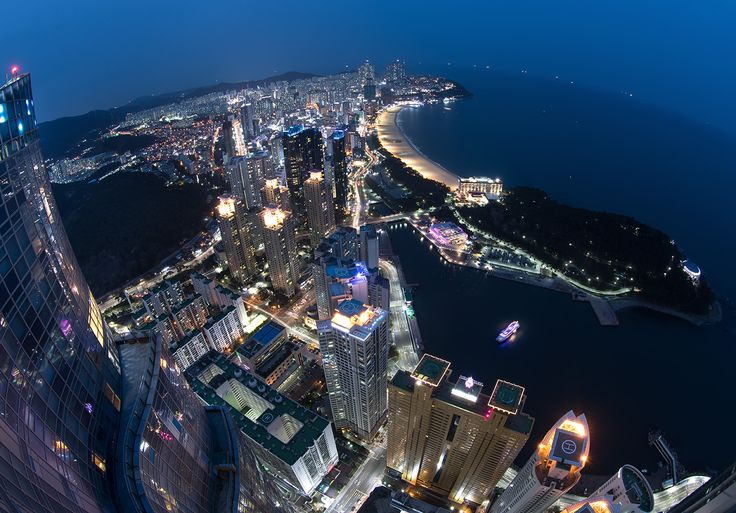 Fisheye view of the Marine City and Haeundae Beach Haeundae District Busan South Korea [OS] [1400977]