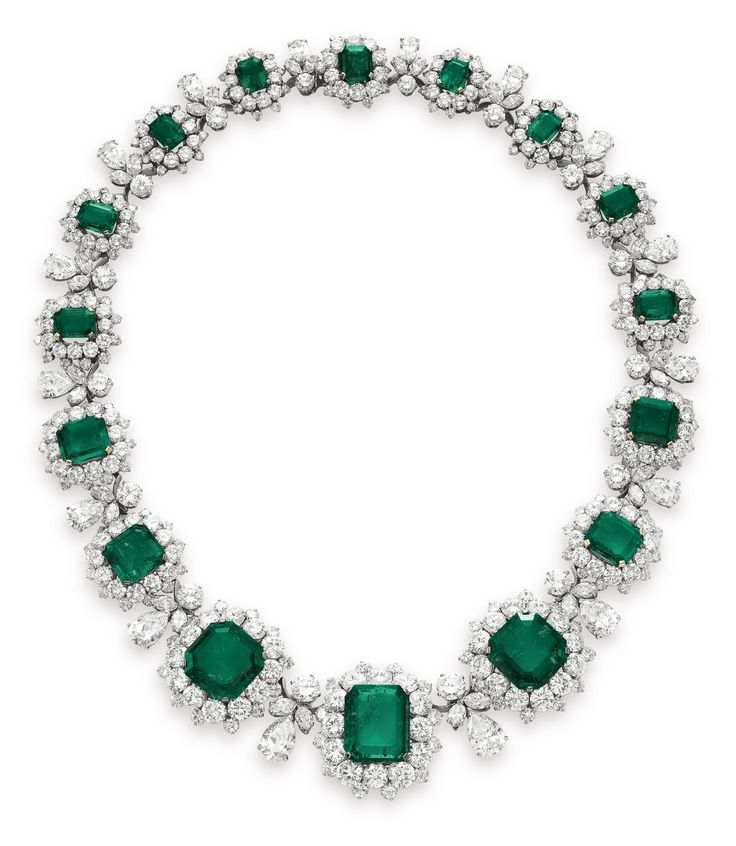 Elizabeth Taylor's Bulgari necklace was a gift from Richard Burton on their wedding day in 1964. The necklace is set with a graduated series of 16 rectangular cut and square cut emeralds.
