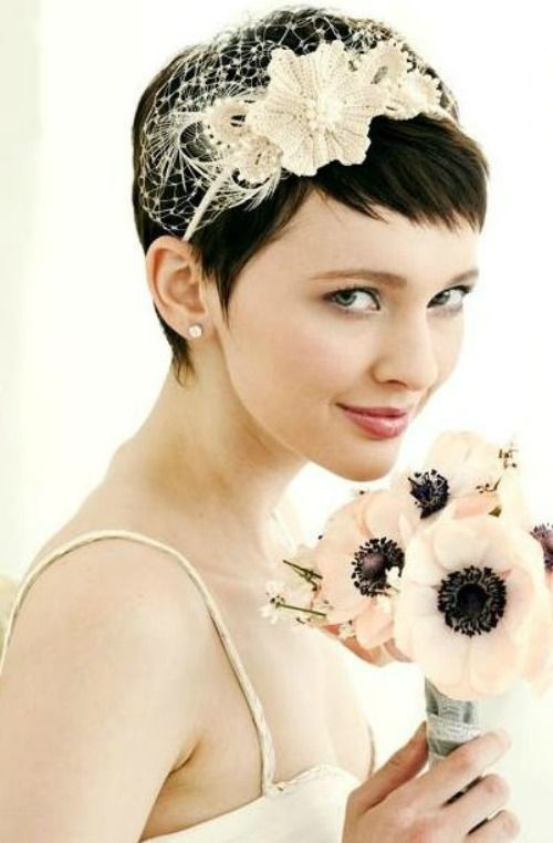 A BEAUTIFUL LITTLE LIFE: Perfect PIXIE Haircuts Part 4: 31 Brides with Pixie Cuts Headpiece ideas!