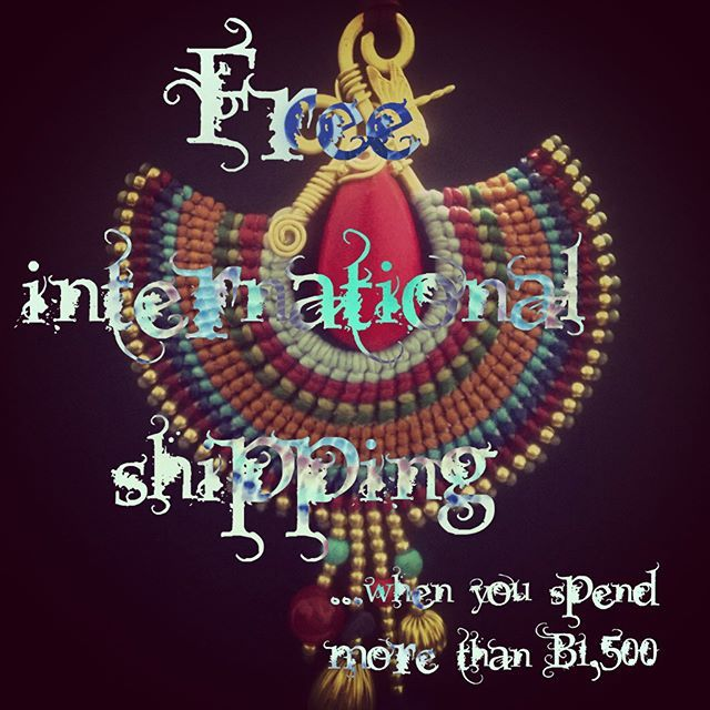 Free shipping discount code LIVE in our Etsy shop! ✈  Spend ฿1,500 and enter 'SHIPPING1500' at checkout  We live in Thailand, we price in baht, but a quick google search tells me how much in your currency will qualify for free shipping: £27.06 $40.10 €36.74  Happy shopping!    http://www.bohemianstyleshop.etsy.com
