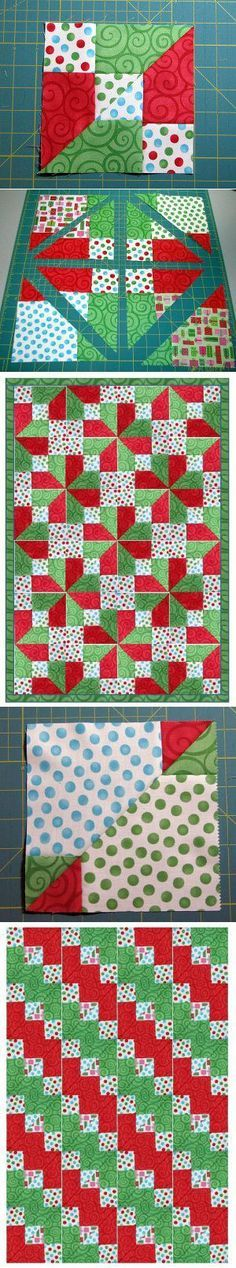 """Accidental Quilt Block Tutorial.  9- 5.5"""" sqs.  = 15"""" -9 patch block (2- gr., 2 red, 2 med print, & 3 light dot print squares) Ea. 9 patch = 2 - 6.5"""" finished quilt blocks of each design 8× 10 block layout = 48"""" x 60"""" quilt top Need: 80 squares (1 7/8 yd) EACH of red, green, med print 120 squares (2 3/4 yd) of light dot fabric Will yield  2 quilts, 1 of each design"""