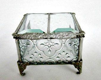 """Argent, d'inspiration Vintage, vitraux boîte à bijoux, boîte de porteur d'anneau, 3 x 3"""" de mariage, cadeau pour elle, victorien, fête des mères, mariage de printemps"""
