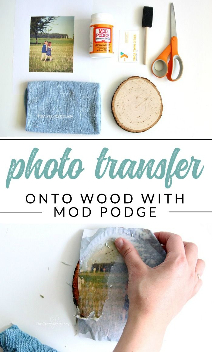 Follow this wood photo transfer tutorial, and learn how to add images to wood surfaces using Mod Podge. Discover an easy way to print pictures onto wood rounds for photo gifts. #ModPodge #imagetransfer #woodround #thecrazycraftlady