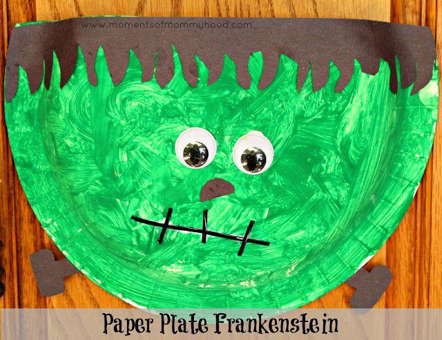 Halloween Craft For Kids: Paper Plate Frankenstein